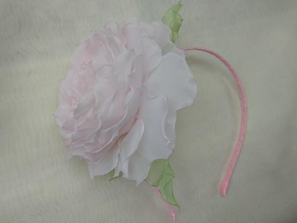 Обруч нежная роза, ободок с розой, веночек, цветы из шифона фото №1