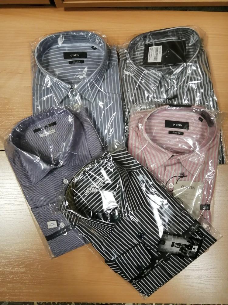 Распродажа мужских рубашек в пролоску разных цветов, размеры s, m. фото №1