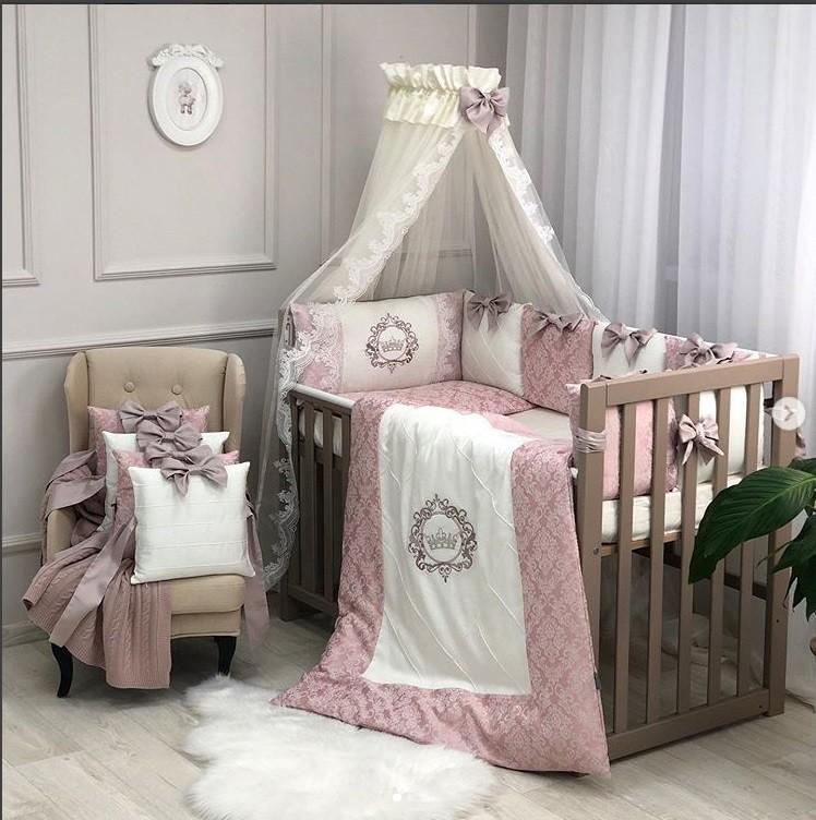 Эксклюзивный набор постельного в кроватку, бортики, балдахин сатин пудра фото №1