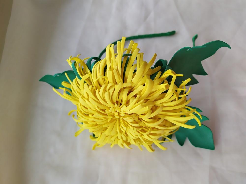 Обруч большой одуванчик, велика кульбаба на обручі, ободок, цветы из фоамирана фото №1