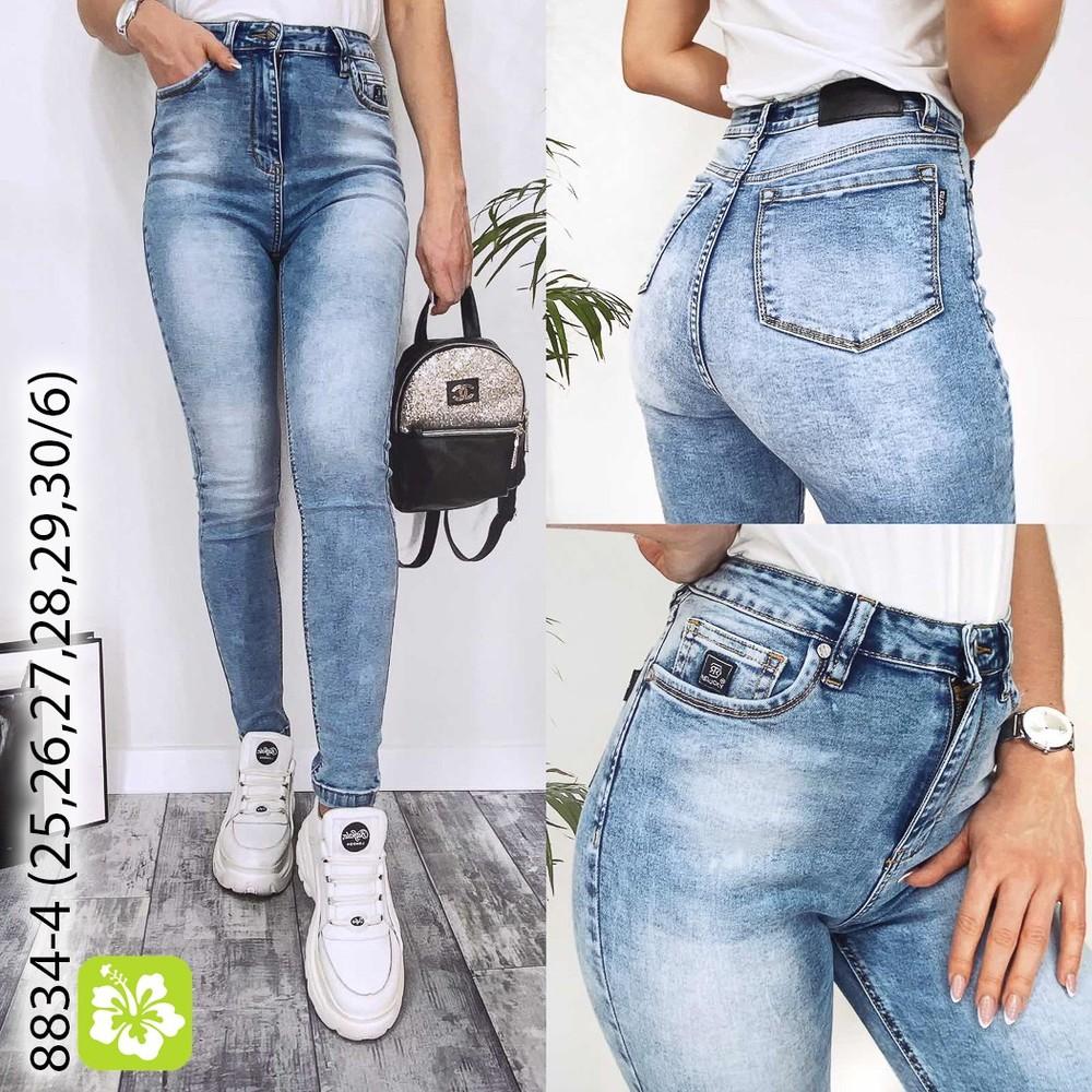 Весенние джинсы американка, джинсы скинни голубые, шаг 74 см фото №1