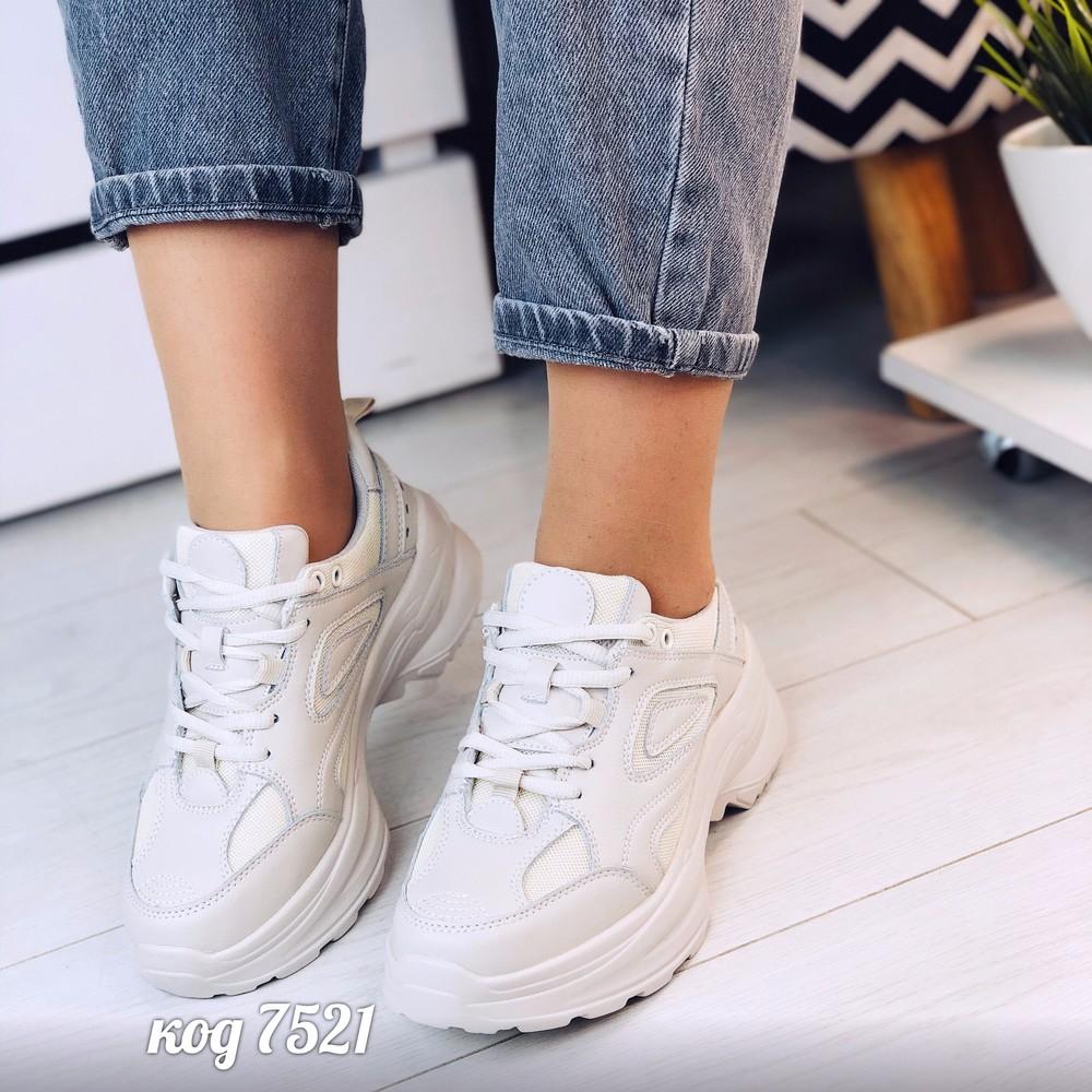 Кроссовки - натуральная кожа - на высокой платформе фото №1