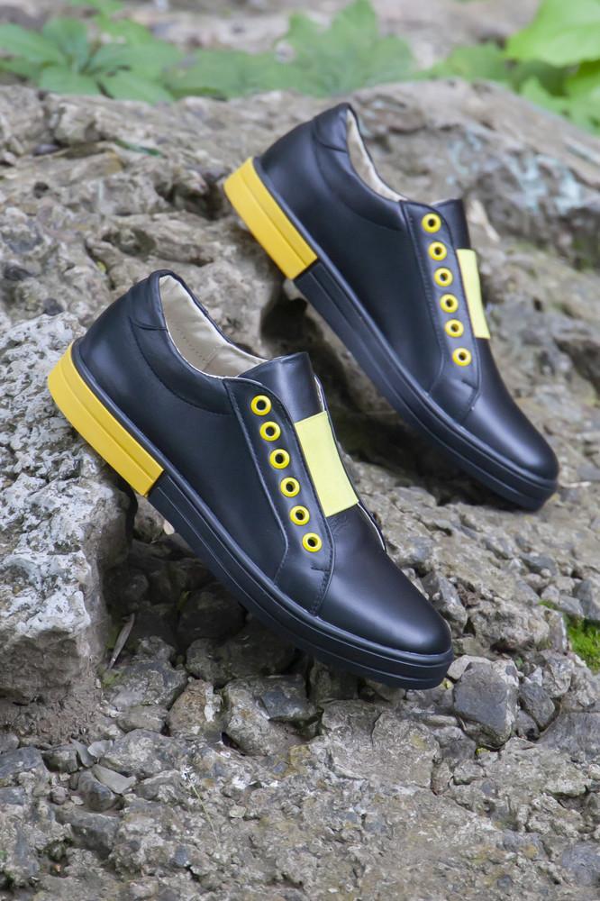 Черно-желтые кожаные кеды 2021 фото №1