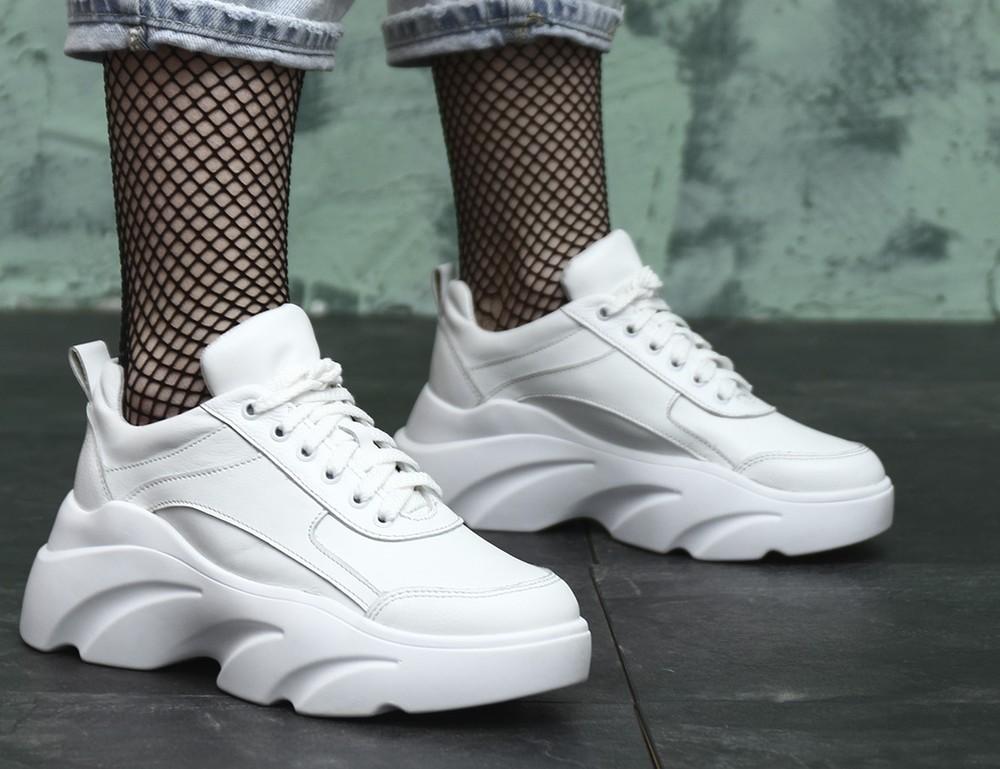 Новинка 2020 белые кожаные кроссовки на высокой платформе, кроссовки кожа натуральная фото №1