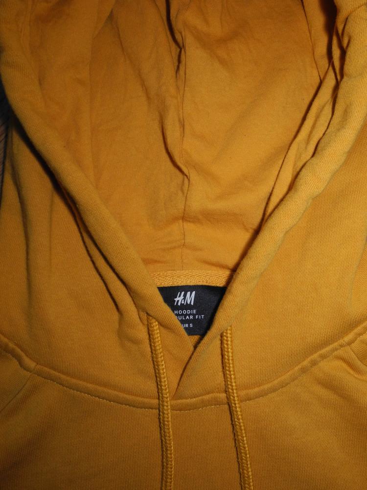 Кофта балахон кенгуру с капюшоном желтый теплый h&m s m фото №1