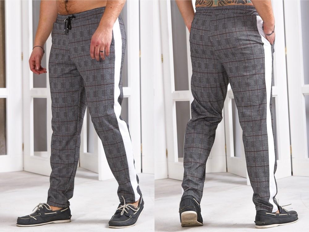 Трикотажные мужские штаны в клетку 48-54 р-р фото №1