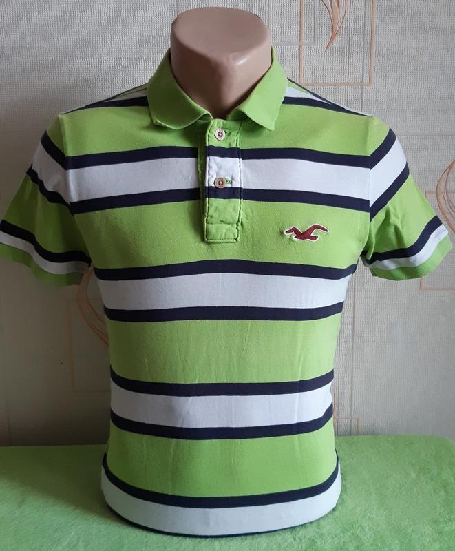 Стильная салатовая футболка поло в полоску hollister made in vietnam фото №1
