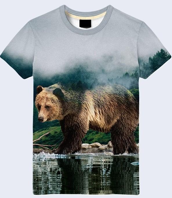 Мужская футболка 3d bear in the forest большой выбор фото №1