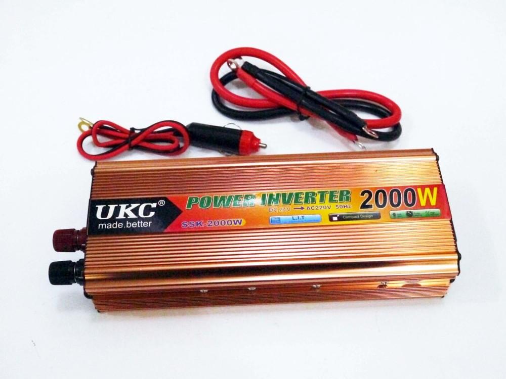 Инвертор 2000w 24v преобразователь тока ac/dc gold фото №1
