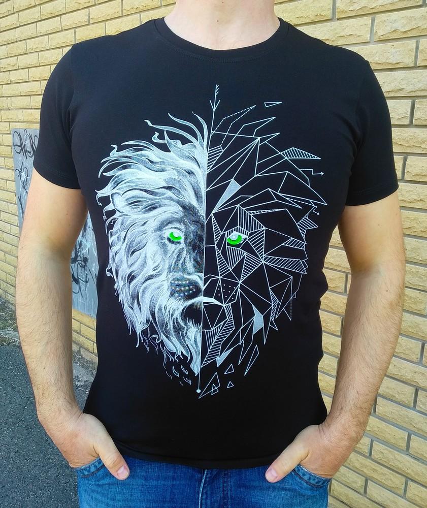 Футболка мужская со светящимся в темноте рисунком стильная футболка со светящимся принтом фото №1