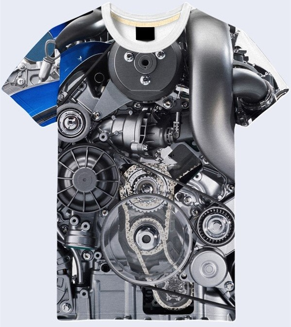 Мужская футболка 3d двигатель мерседеса большой выбор фото №1