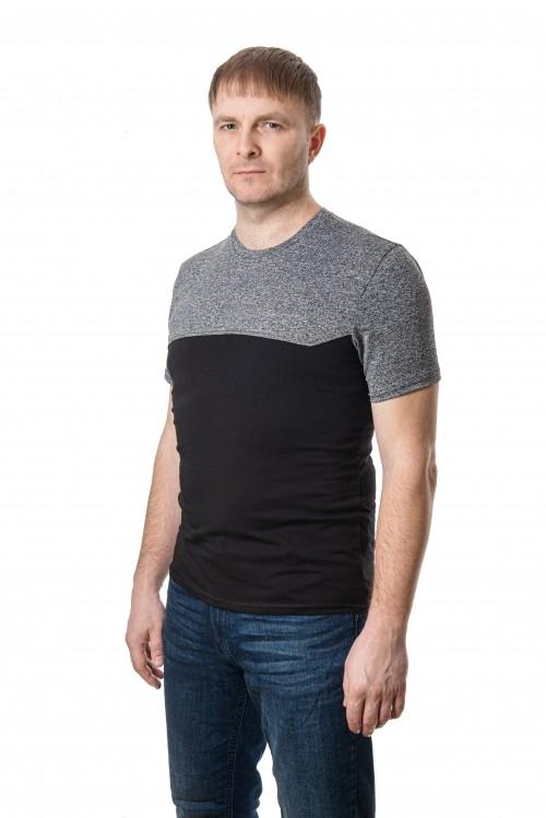 Стильная мужская футболка комбинированная фото №1