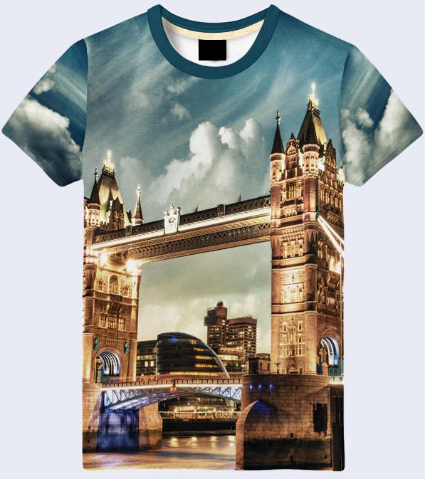 Мужская футболка 3d лондонский мост большой выбор фото №1
