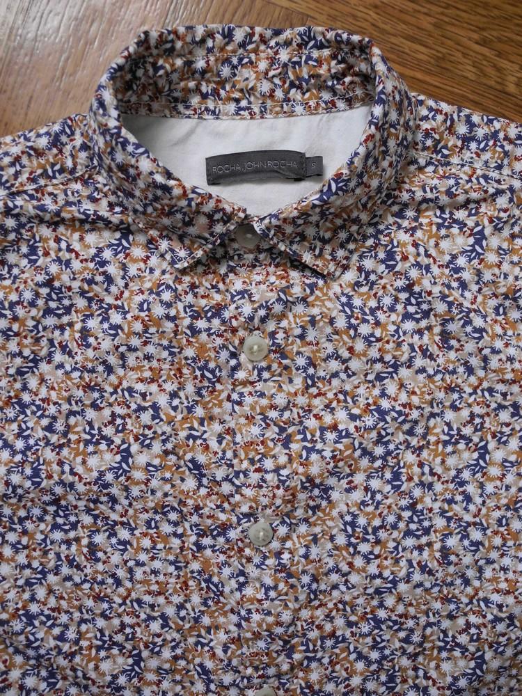 Акция подарок мужская рубашка цветная в узорчик rocha john rocha s m фото №1