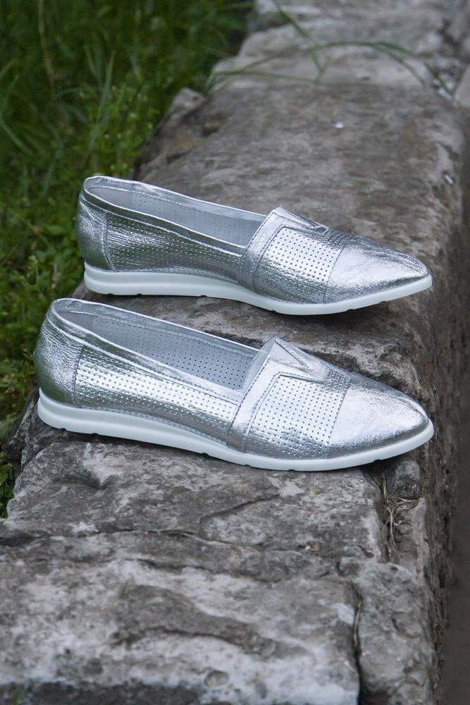Летние серебряные балетки из натуральной кожи! фото №1