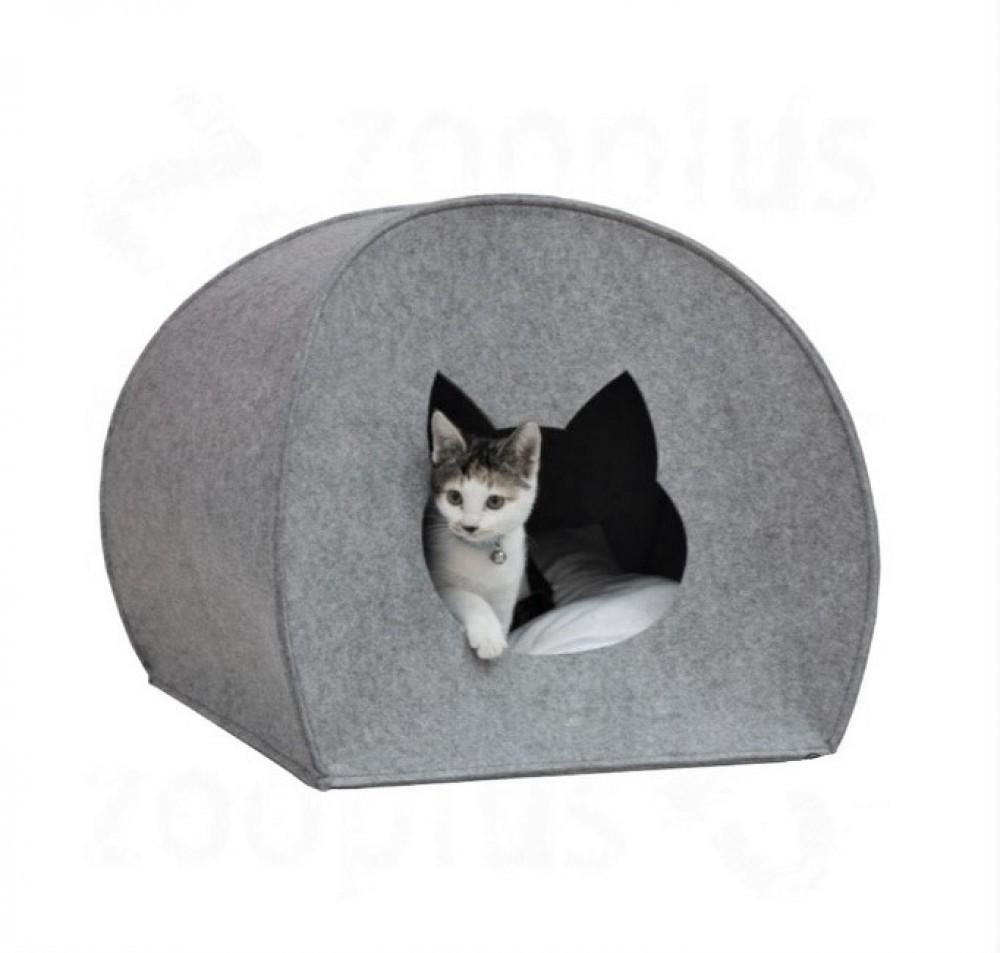 """Домик для кота из войлока """"палатка"""" серый фото №1"""