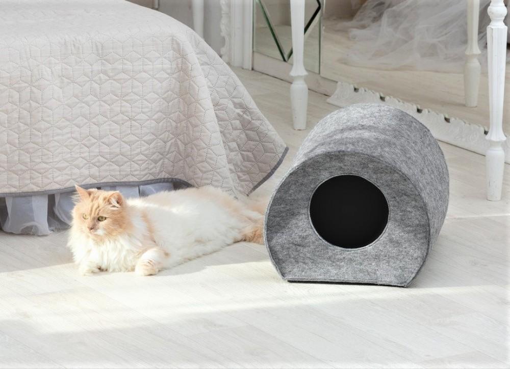"""Теплый дом для кота из войлока """"цилиндр"""" серый фото №1"""