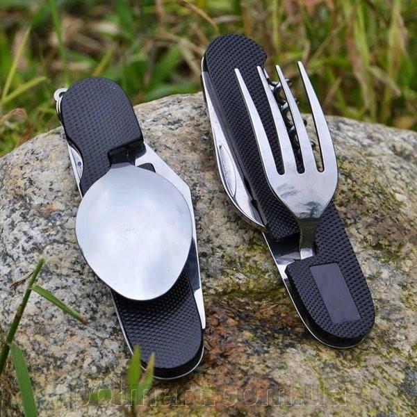 Туристический набор скадной (мультитул) 6 в 1 усиленный!!! (ложка, вилка, нож, открывалка, штопор... фото №1