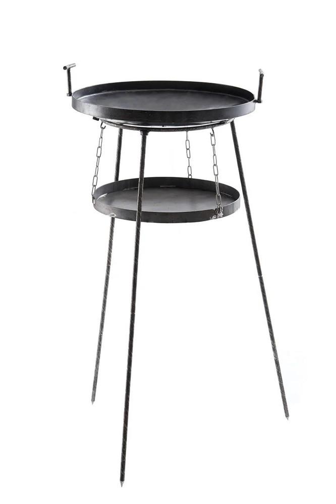 Набор сковорода с крышкой из диска бороны с воздушной подставкой (садж) для костра фото №1