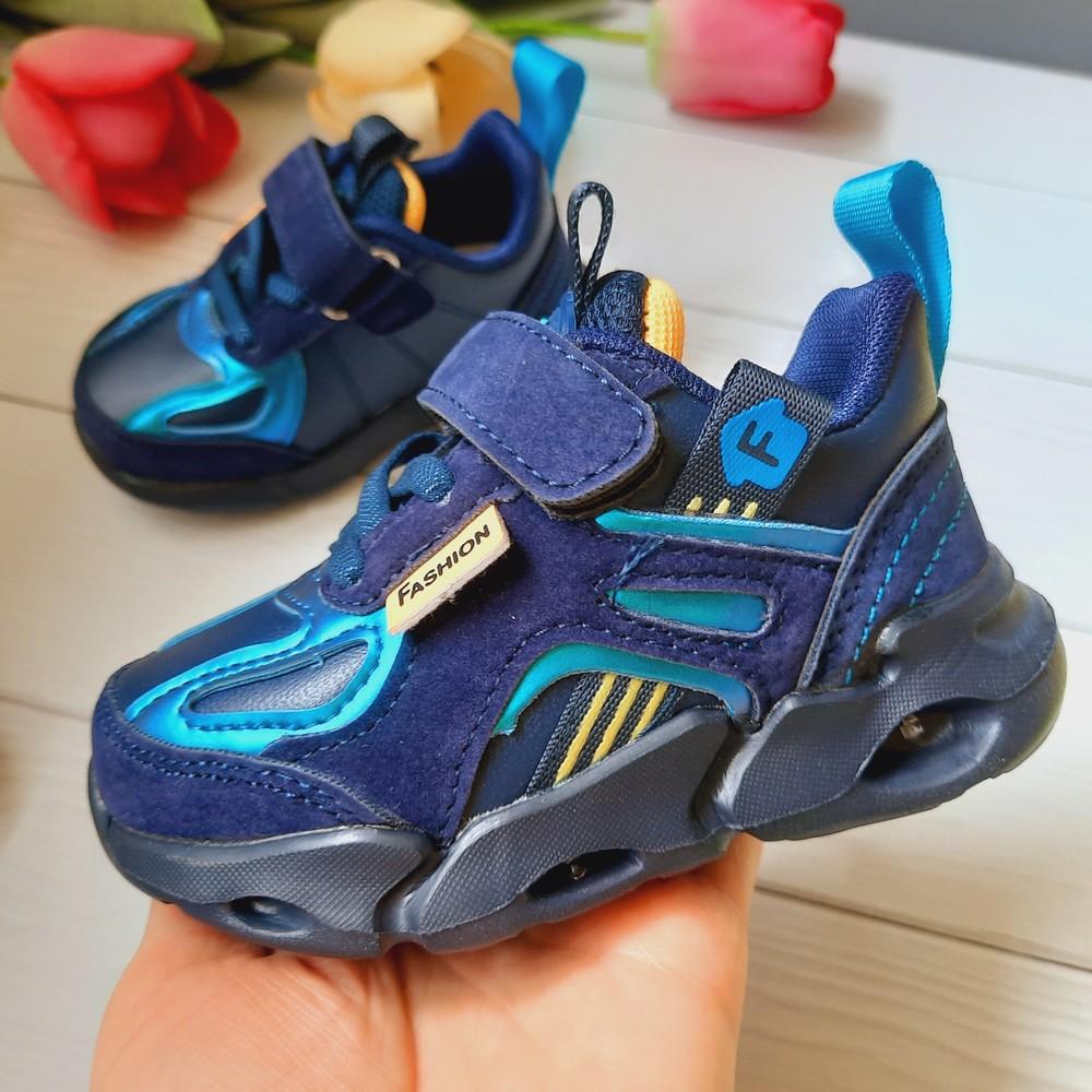 Кроссовки на мальчика синие с лед подсветкой 22,23,24 размер фото №1