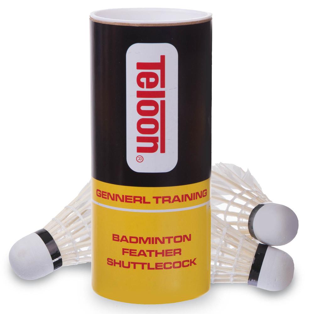 Воланы для бадминтона перьевые teloon tb21: 3 волана в комплекте фото №1