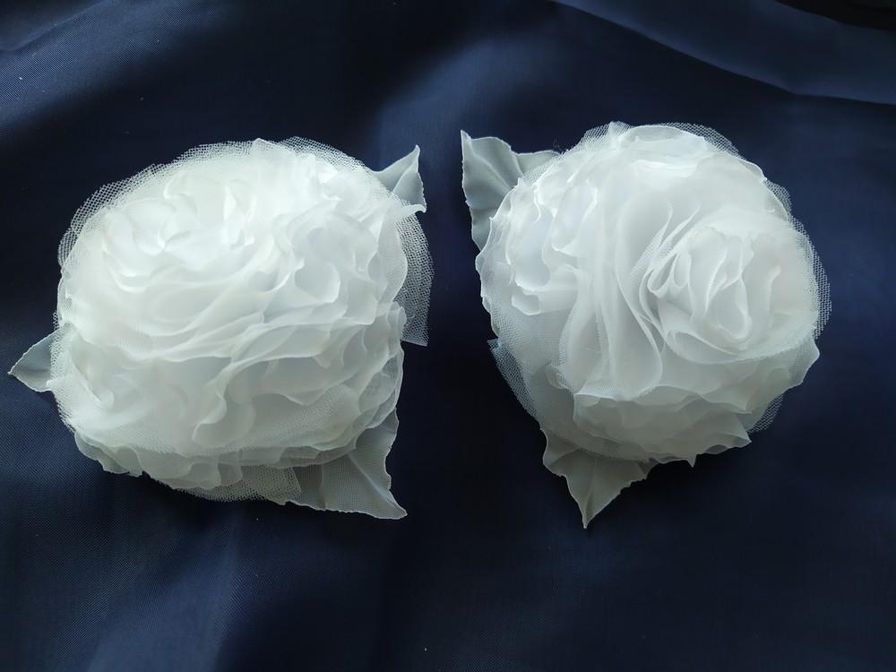 Красивые банты на 1 сентября 2 шт, школьный бант, цветы из шифона фото №1