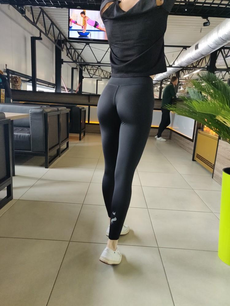 Женские чёрные лосины. спортивные леггинсы. фото №1