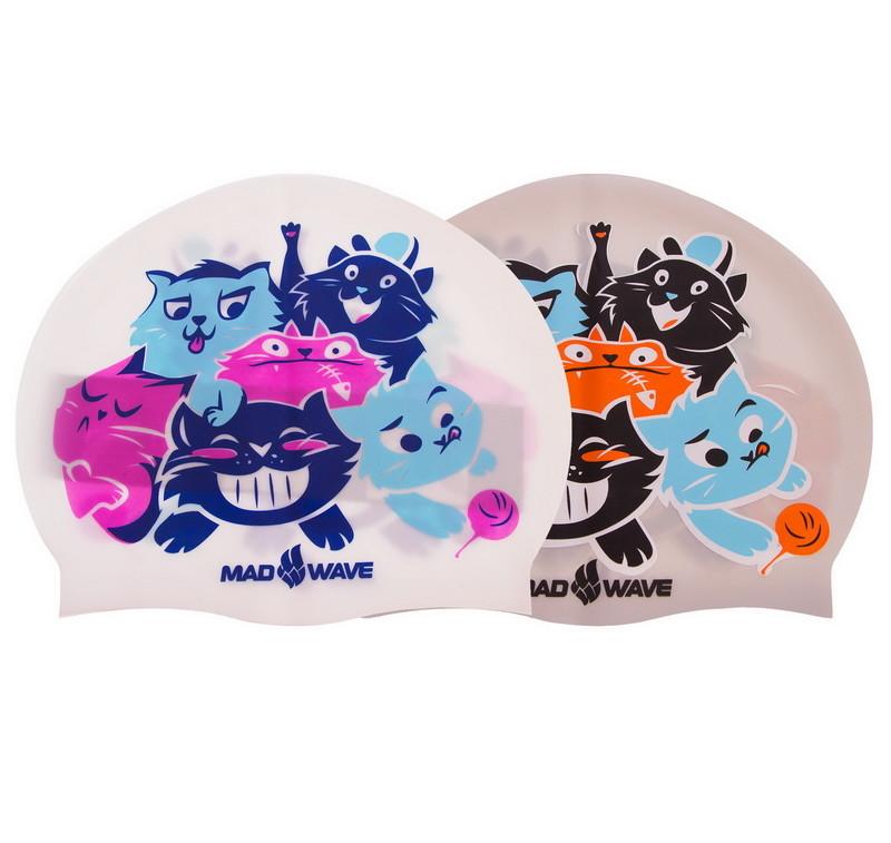 Шапочка для плавания детская madwave cats 057810: силикон, 2 цвета фото №1