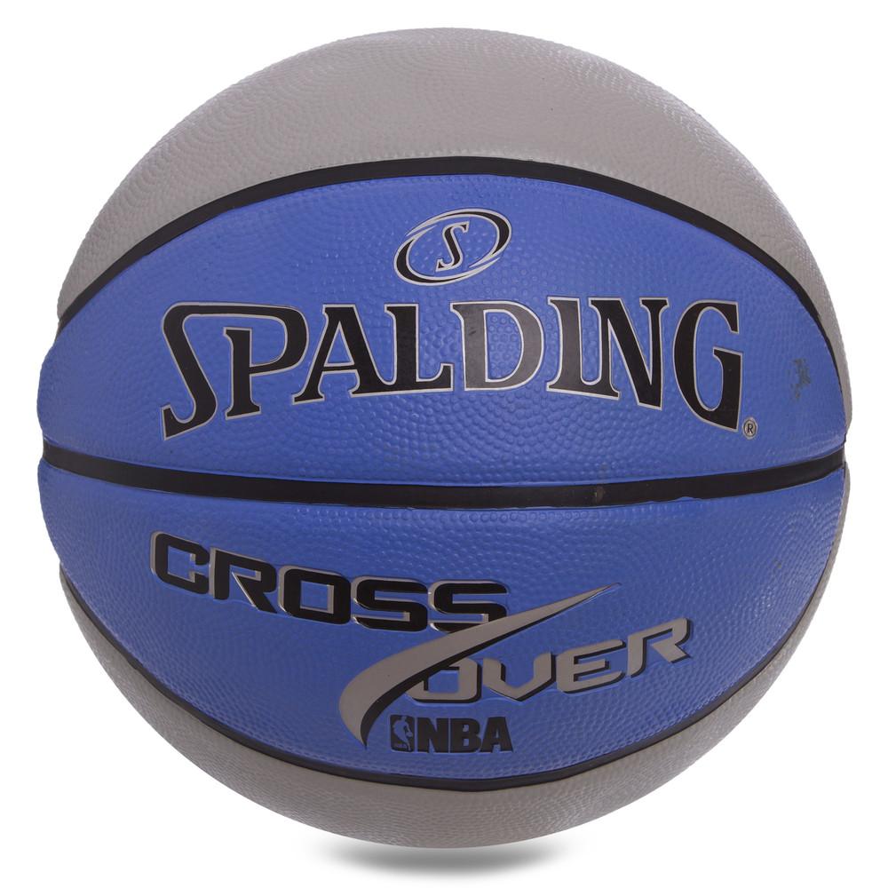 Мяч баскетбольный резиновый spalding cross over 83337z: размер №7 (резина, бутил) фото №1