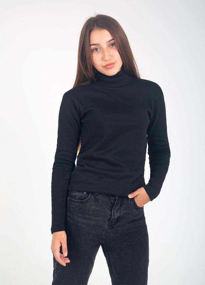 Водолазка женская чёрная рибана с начёсом супер качество фото №1