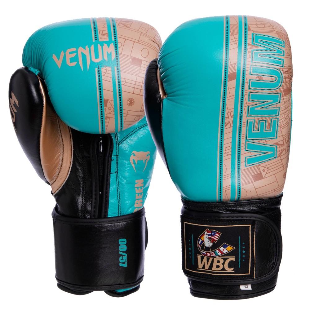 Перчатки боксерские кожаные на липучке venum shield pro 1998: 10-14 унций фото №1