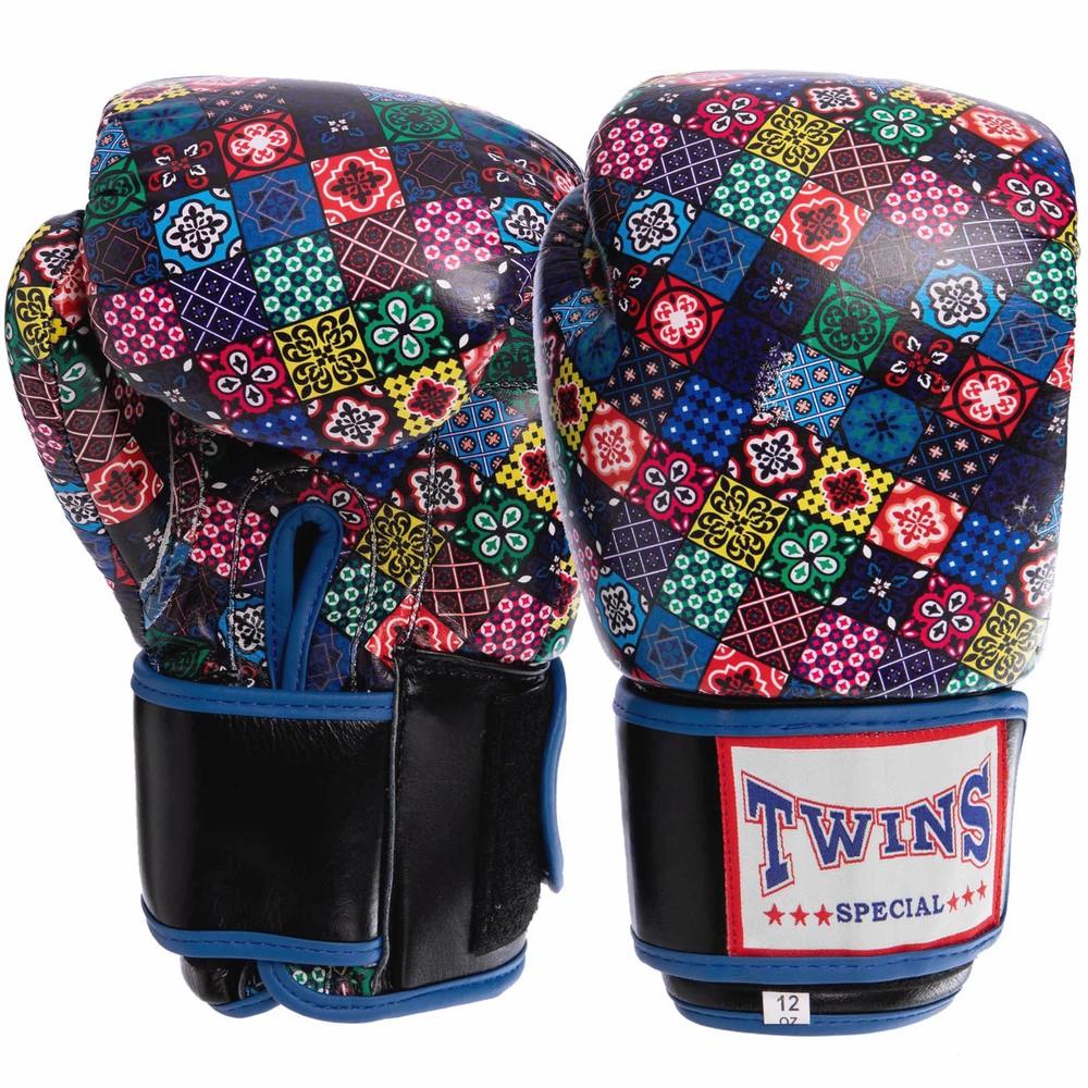 Перчатки боксерские кожаные на липучке twin 2058: 10-12 унций фото №1