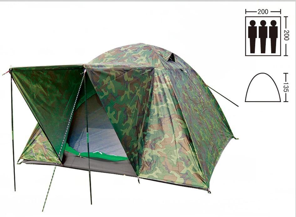 Палатка туристическая трехместная с тентом и тамбуром shengyuan 034: 2х2х1,35м, камуфляж фото №1