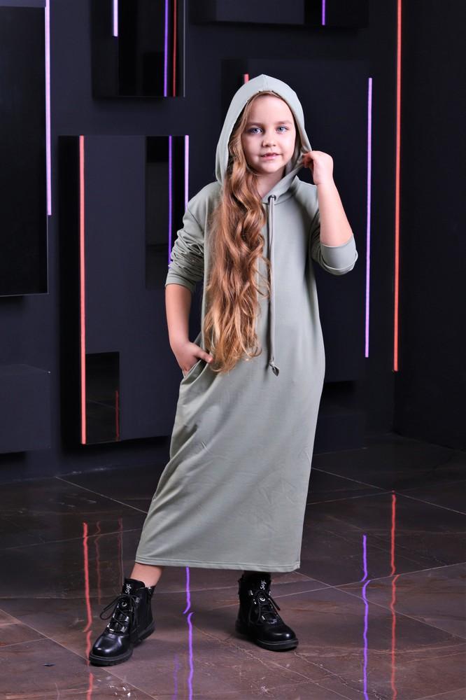 Платье с капюшоном турецкий трикотаж от производителя в ассортименте 128-164 фото №1