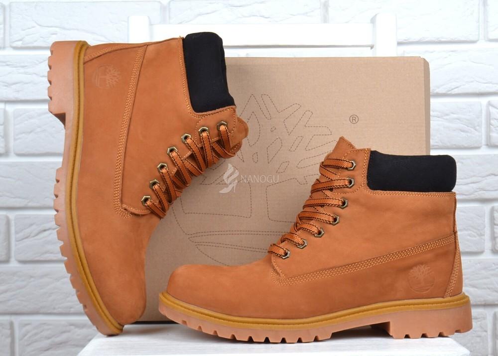 Ботинки мужские кожаные натуральный мех timberland зимние желтые на шнуровке фото №1
