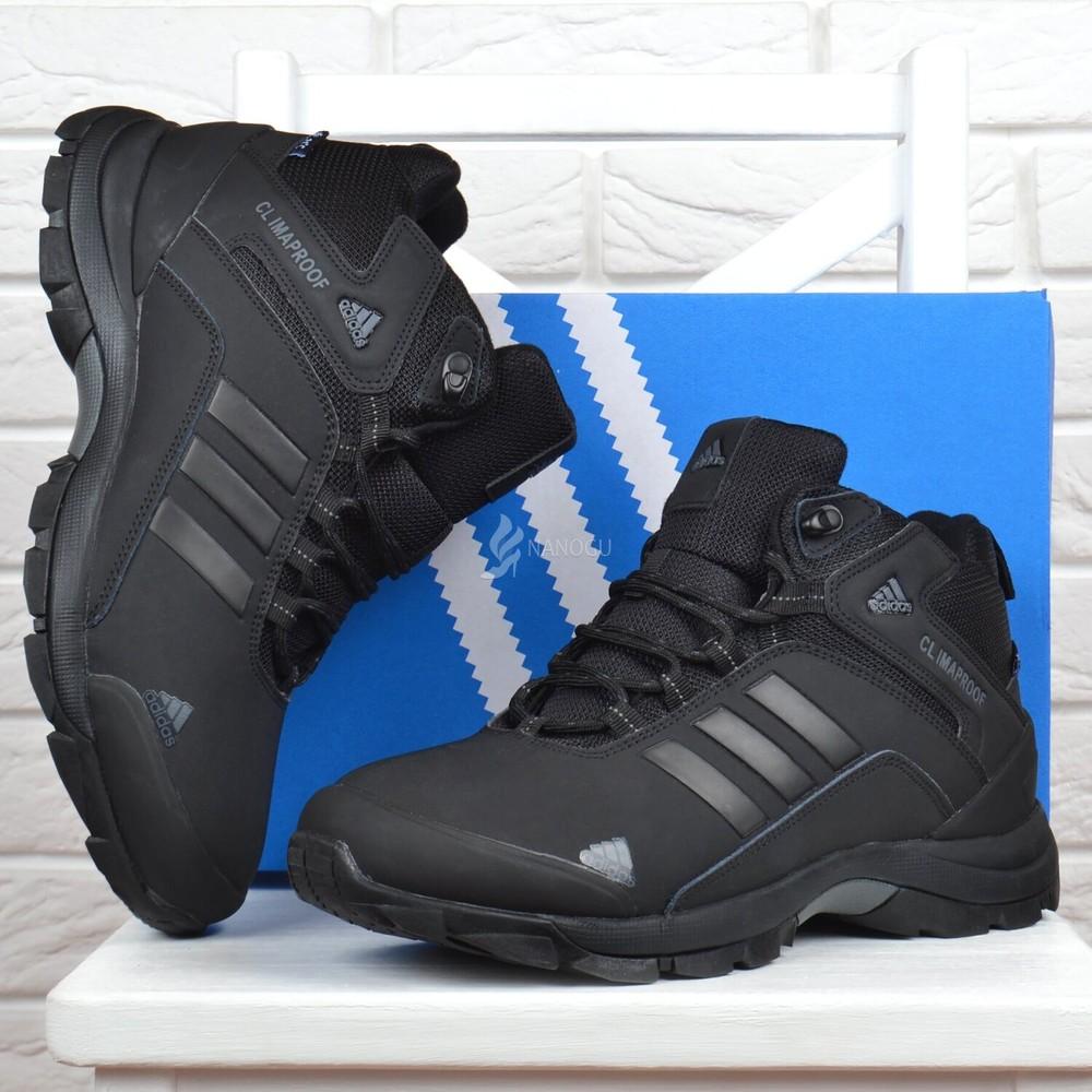 Ботинки мужские зимние кожаные adidas climaproof адидас черные на меху фото №1
