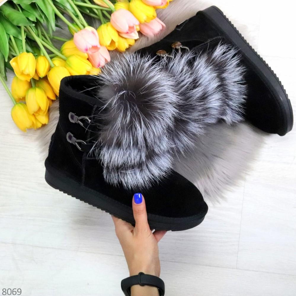 Ультра модные черные низкие угги из натуральной замши с опушкой из натурального меха фото №1