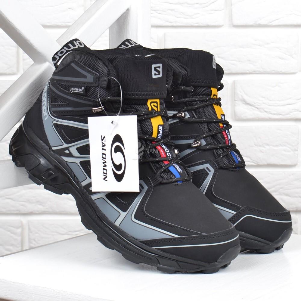 Ботинки мужские зимние кожаные salomon speed cross pro на меху фото №1