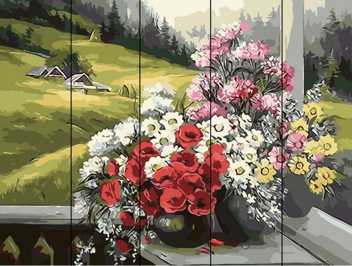 """Картина по номерам на дереве. rainbow art """"горный букет"""" фото №1"""