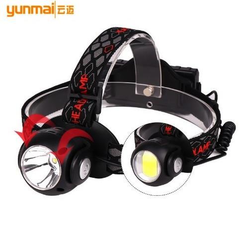 Налобный фонарь yunmai 1315b t6+cob фото №1