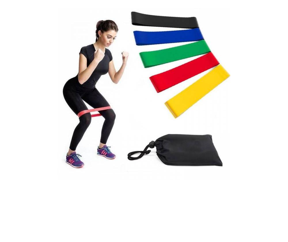 Резинки loop bands для фитнеса.набор- 5 шт с чехлом разные нагрузки фото №1