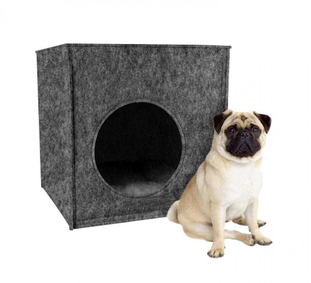 """Домик лежанка из войлока """"кубик"""" с подушкой для маленьких и средних пород собак размер л серый фото №1"""