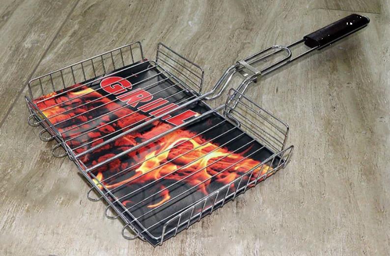 Решетка для гриля и барбекю , сетка для гриля на мангал с ручкой, объемная grill 28х20х4см фото №1
