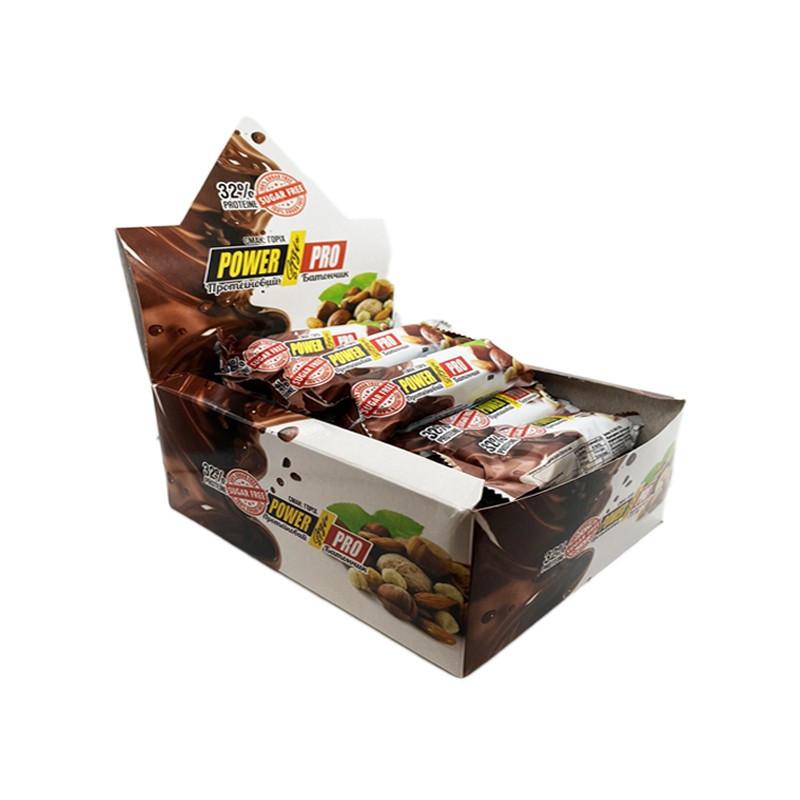 Протеиновый батончик power pro 36% белка 60 грамм nutella/орехи фото №1