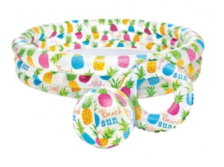 Детский надувной бассейн intex 132*88 см, рыбки с мячом и кругом фото №1