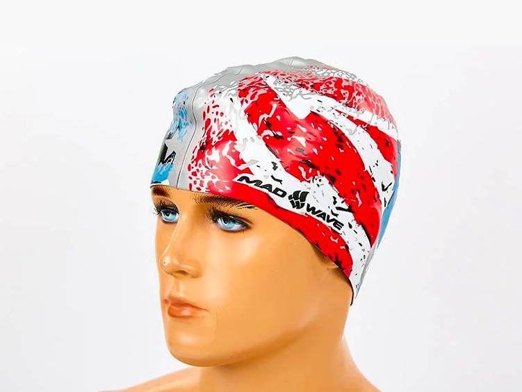 Шапочка для плавания madwave usa 055303: силикон, красно-синий фото №1