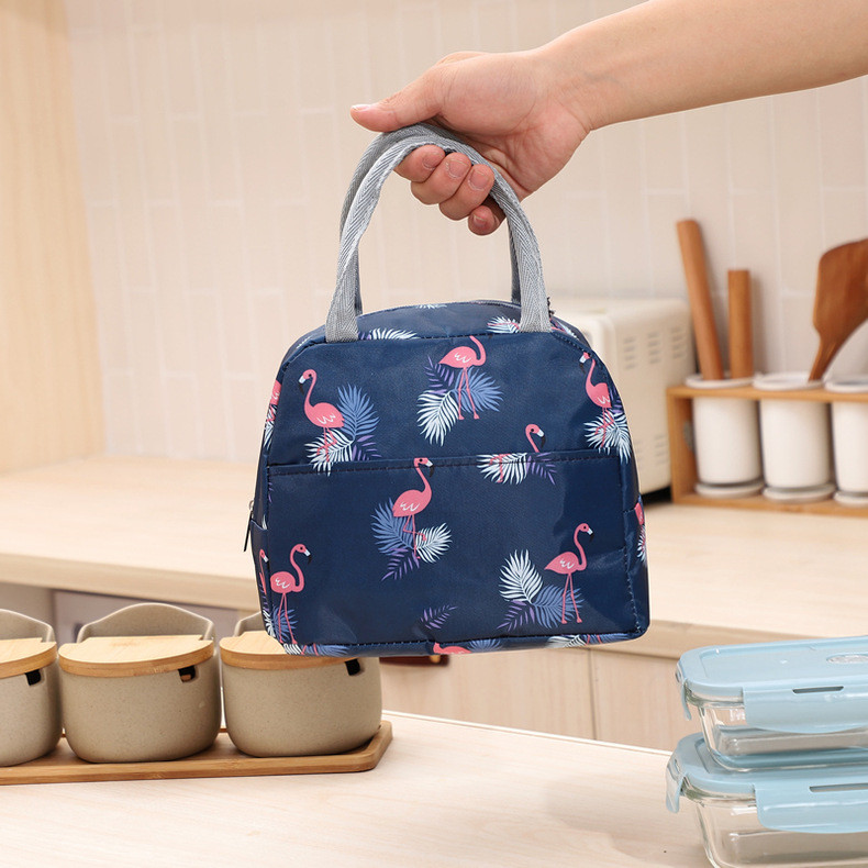 Термосумка, ланч-бокс, сумка для обедов, темно-синяя. фламинго. фото №1