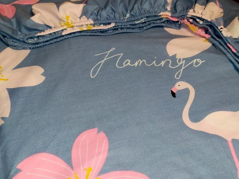Простыни на резинке из бязи - фламинго и цветы, все размеры, быстрая отправка фото №1