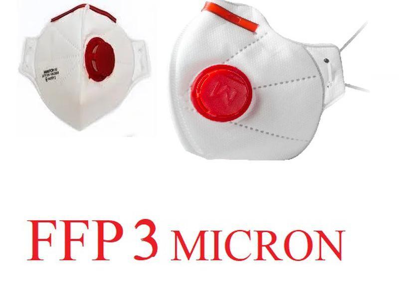 Респиратор микрон ffp3 с клапаном (красный) фото №1