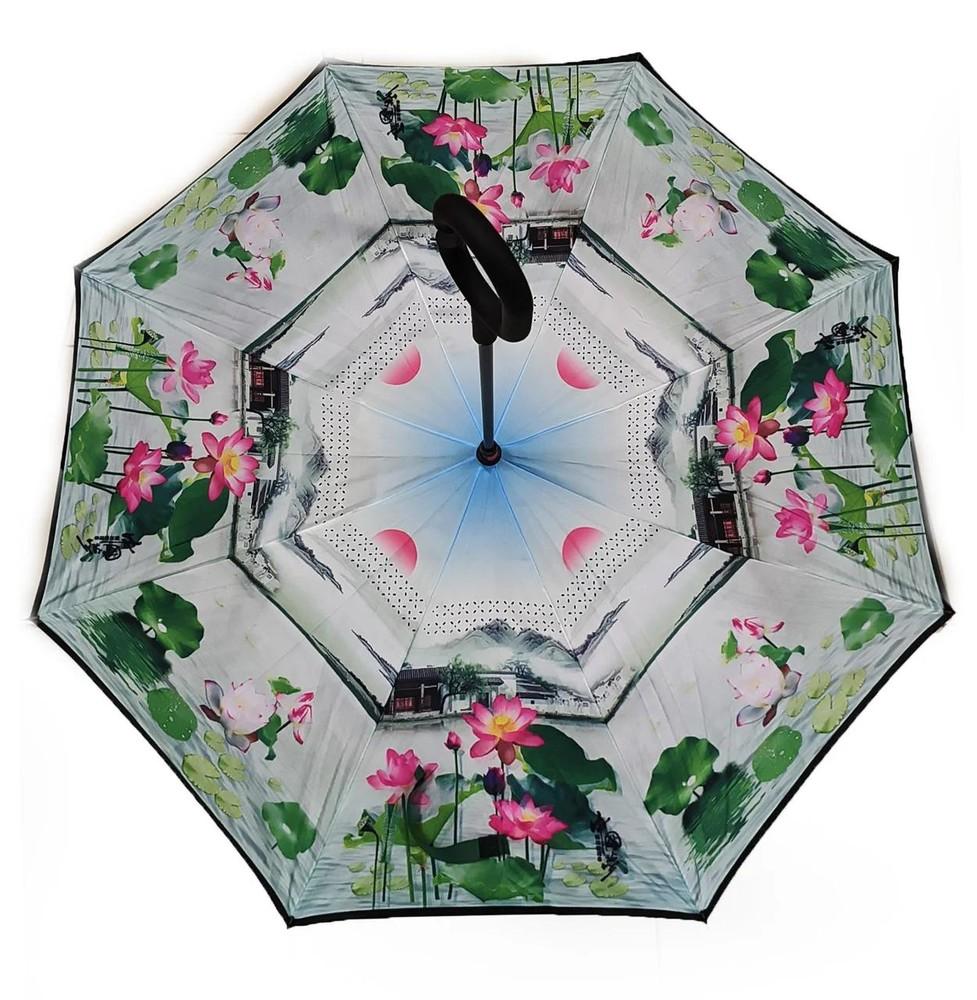 Зонт наоборот, зонт обратного сложения, ветрозащитный зонт up-brella, антизонт, зонт перевертыш лили фото №1